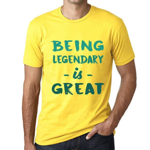 Being Legendary Is Great Mens T-Shirt Yellow Birthday Gift 00378 - Yellow / Xs - Casual