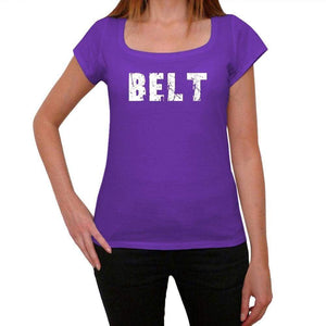 Belt Purple Womens Short Sleeve Round Neck T-Shirt 00041 - Purple / Xs - Casual