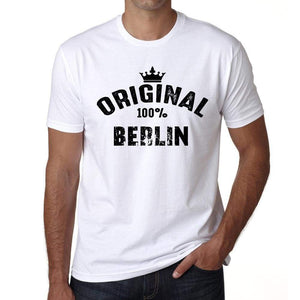 Berlin 100% German City White Mens Short Sleeve Round Neck T-Shirt 00001 - Casual