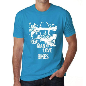 Bikes Real Men Love Bikes Mens T Shirt Blue Birthday Gift 00541 - Blue / Xs - Casual
