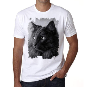 Black Nebelung Cat Portrait Tshirt Mens Tee White 100% Cotton 00186