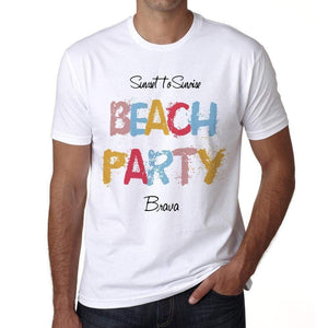 Brava Beach Party White Mens Short Sleeve Round Neck T-Shirt 00279 - White / S - Casual