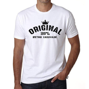 Bretnig Hauswalde 100% German City White Mens Short Sleeve Round Neck T-Shirt 00001 - Casual
