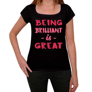 Brilliant Being Great Black Womens Short Sleeve Round Neck T-Shirt Gift T-Shirt 00334 - Black / Xs - Casual