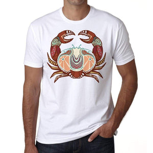 Cancer Zodiac Sign Mens White Tee 100% Cotton 00213