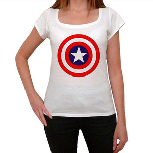 Captan America Logo Shield Womens Short Sleeve Round Neck T-Shirt 00111