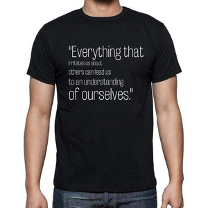 Carl Jung Quote T Shirts Everything That Irritates Us T Shirts Men Black - Casual
