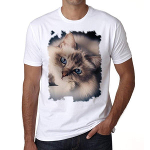 Cat Face Tshirt Mens Tee White 100% Cotton 00186