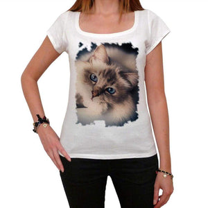 Cat Face Tshirt White Womens T-Shirt 00222