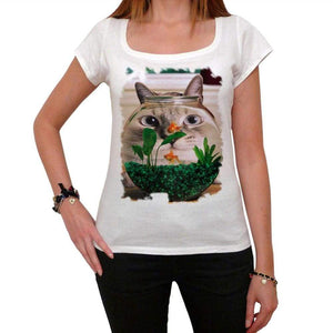 Cat Fisheye Face Tshirt White Womens T-Shirt 00222