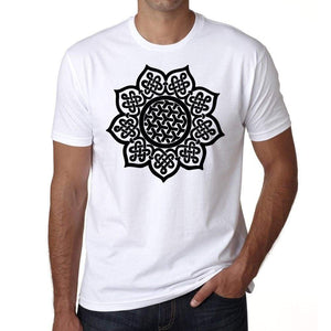 Celtic Mandala H Mens White Tee 100% Cotton 00175