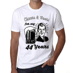Cheers And Beers For My 44 Years Mens T-Shirt White 44Th Birthday Gift 00414 - White / Xs - Casual