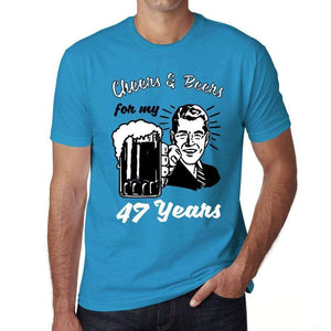 Cheers And Beers For My 47 Years Mens T-Shirt Blue 47Th Birthday Gift 00417 - Blue / Xs - Casual