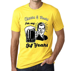 Cheers And Beers For My 94 Years Mens T-Shirt Yellow 94Th Birthday Gift 00418 - Yellow / Xs - Casual