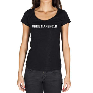 Christiansholm German Cities Black Womens Short Sleeve Round Neck T-Shirt 00002 - Casual