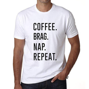 Coffee Brag Nap Repeat Mens Short Sleeve Round Neck T-Shirt 00058 - White / S - Casual