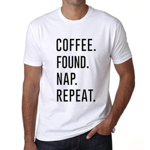 Coffee Found Nap Repeat Mens Short Sleeve Round Neck T-Shirt 00058 - White / S - Casual