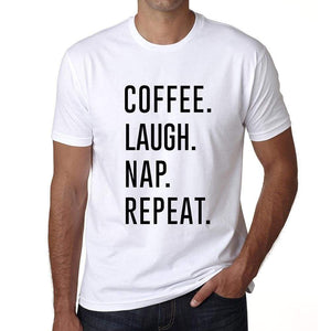 Coffee Laugh Nap Repeat Mens Short Sleeve Round Neck T-Shirt 00058 - White / S - Casual