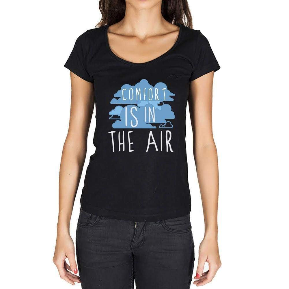 b612e8ab086 Comfort in the air Black Womens Short Sleeve Round Neck T-shirt gift ...
