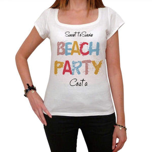 Costa Beach Party White Womens Short Sleeve Round Neck T-Shirt 00276 - White / Xs - Casual