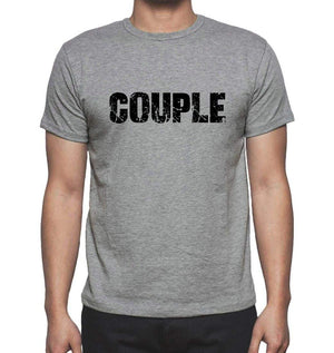 Couple Grey Mens Short Sleeve Round Neck T-Shirt 00018 - Grey / S - Casual