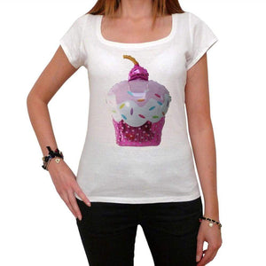 Cupcake Pink Balloon Womens Short Sleeve Scoop Neck Tee 00152