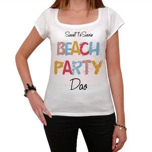 Dao Beach Party White Womens Short Sleeve Round Neck T-Shirt 00276 - White / Xs - Casual