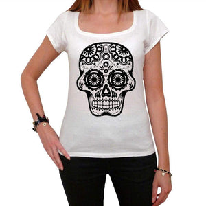 Day Of The Dead Skull Black And White 1 White Womens T-Shirt 100% Cotton 00188