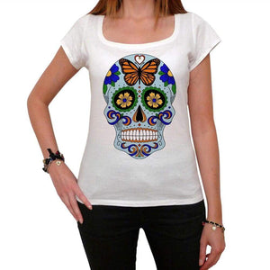 Day Of The Dead Skull Blue White Womens T-Shirt 100% Cotton 00188