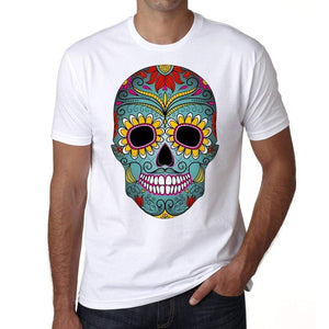 Day Of The Dead Skull Green Mens White Tee 100% Cotton 00187