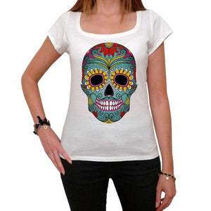 Day Of The Dead Skull Green White Womens T-Shirt 100% Cotton 00188