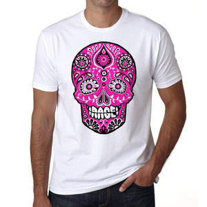Day Of The Dead Skull Pink Rage Mens White Tee 100% Cotton 00187