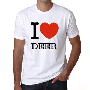 Deer I Love Animals White Mens Short Sleeve Round Neck T-Shirt 00064 - White / S - Casual