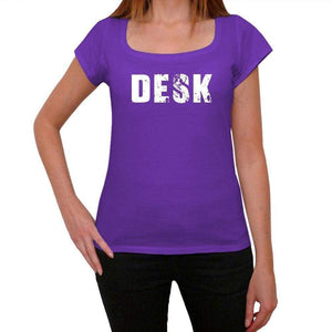 Desk Purple Womens Short Sleeve Round Neck T-Shirt 00041 - Purple / Xs - Casual