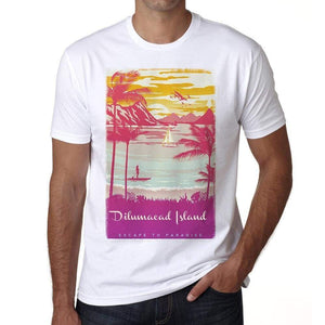 Dilumacad Island Escape To Paradise White Mens Short Sleeve Round Neck T-Shirt 00281 - White / S - Casual