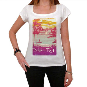 Dolphin Reef Escape To Paradise Womens Short Sleeve Round Neck T-Shirt 00280 - White / Xs - Casual