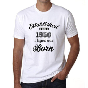 Established Since 1950 Mens Short Sleeve Round Neck T-Shirt 00095 - White / S - Casual