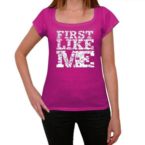 First Like Me Pink Womens Short Sleeve Round Neck T-Shirt 00053 - Pink / Xs - Casual