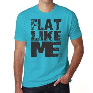 Flat Like Me Blue Grey Letters Mens Short Sleeve Round Neck T-Shirt 00285 - Blue / S - Casual