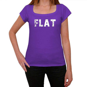 Flat Purple Womens Short Sleeve Round Neck T-Shirt 00041 - Purple / Xs - Casual