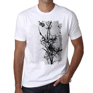 Flowers 2 Mens Tee White 100% Cotton 00164