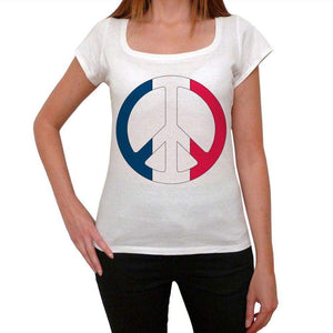 France Peace Womens Short Sleeve Scoop Neck Tee 00171