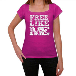 Free Like Me Pink Womens Short Sleeve Round Neck T-Shirt 00053 - Pink / Xs - Casual
