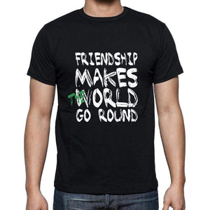 Friendship World Goes Round Mens Short Sleeve Round Neck T-Shirt 00082 - Black / S - Casual
