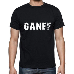 Ganef Mens Short Sleeve Round Neck T-Shirt 5 Letters Black Word 00006 - Casual