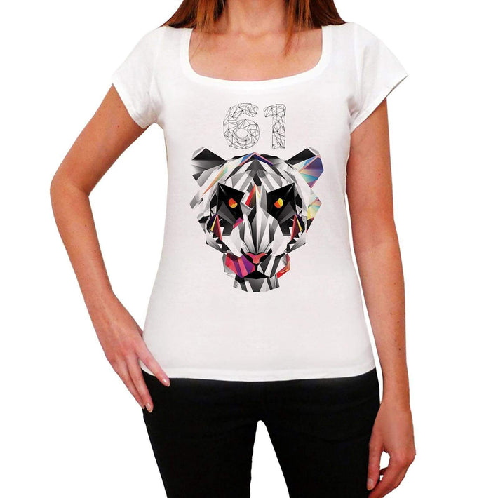 Geometric Tiger Number 61 White Womens Short Sleeve Round Neck T-Shirt 00283 - White / Xs - Casual