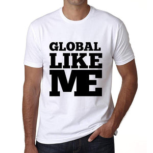 Global Like Me White Mens Short Sleeve Round Neck T-Shirt 00051 - White / S - Casual