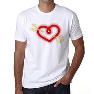 Glowing Heart With Arrow Mens Tee White 100% Cotton 00156