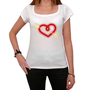 Glowing Heart With Arrow Tshirt White Womens T-Shirt 00157