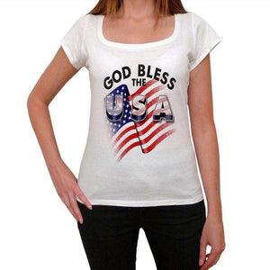 God Bless The Usa Womens Short Sleeve Round Neck T-Shirt 00111